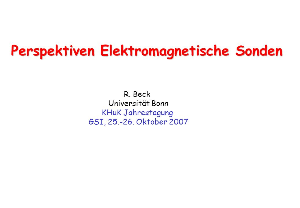 Perspektiven Elektromagnetische Sonden