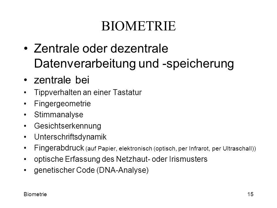 BIOMETRIE Zentrale oder dezentrale Datenverarbeitung und -speicherung