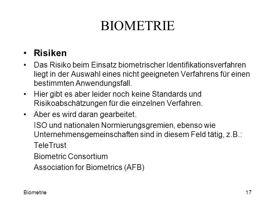 BIOMETRIE Risiken.