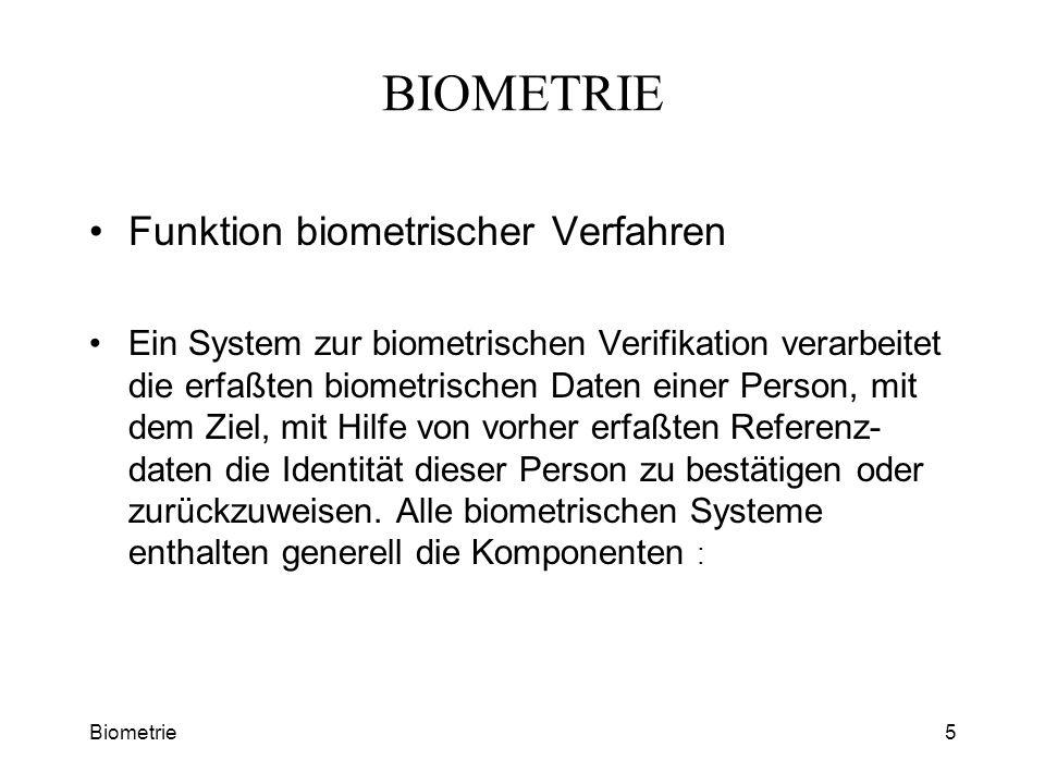 BIOMETRIE Funktion biometrischer Verfahren