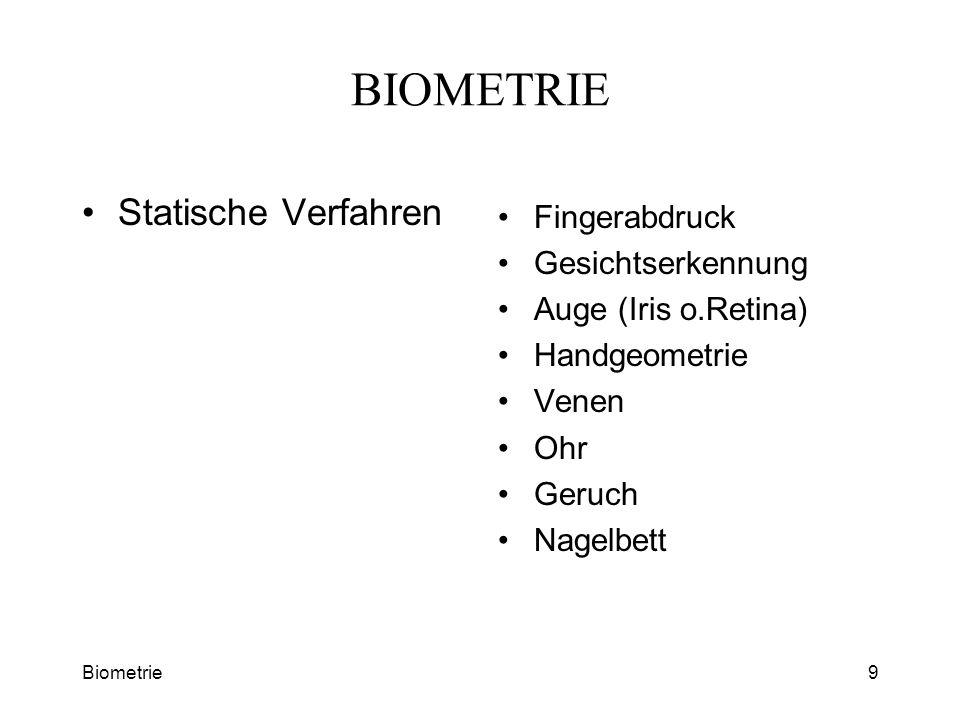 BIOMETRIE Statische Verfahren Fingerabdruck Gesichtserkennung