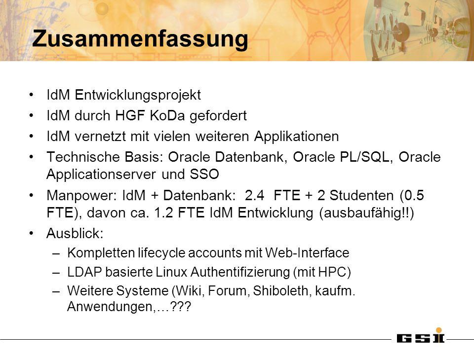 Zusammenfassung IdM Entwicklungsprojekt IdM durch HGF KoDa gefordert