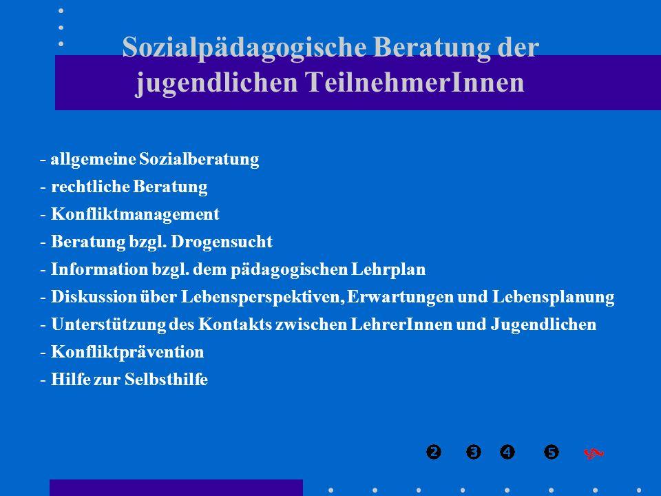Sozialpädagogische Beratung der jugendlichen TeilnehmerInnen