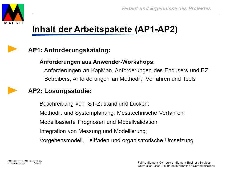 Inhalt der Arbeitspakete (AP1-AP2)