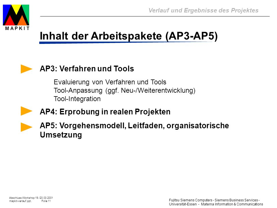 Inhalt der Arbeitspakete (AP3-AP5)