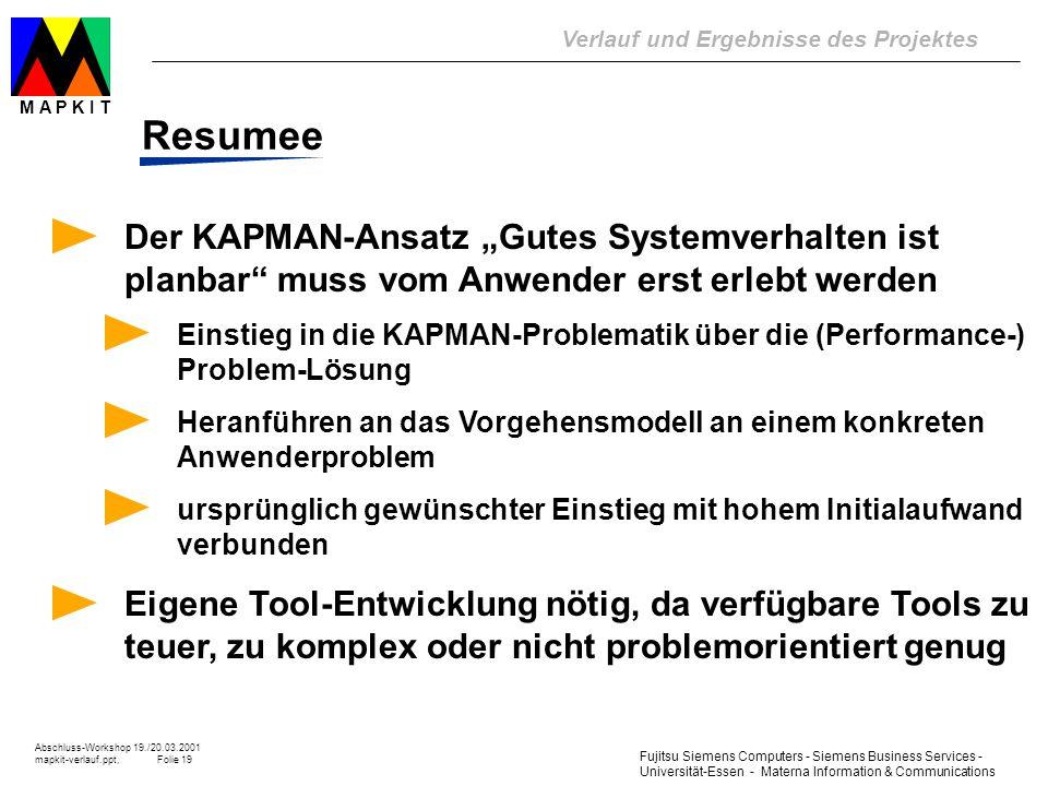 """Resumee Der KAPMAN-Ansatz """"Gutes Systemverhalten ist planbar muss vom Anwender erst erlebt werden."""