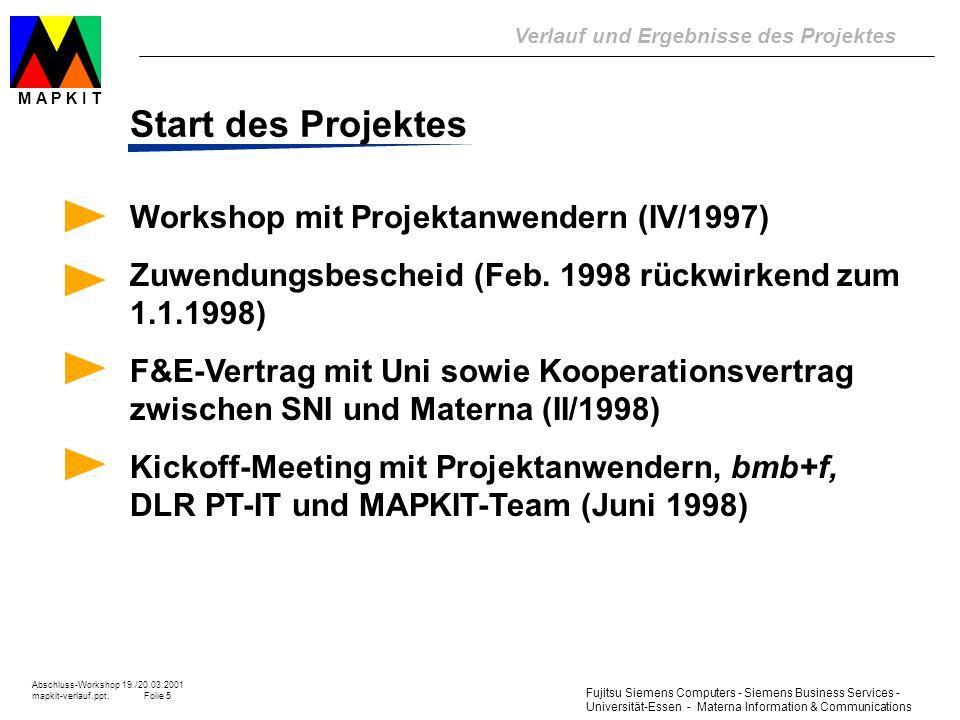 Start des Projektes Workshop mit Projektanwendern (IV/1997)