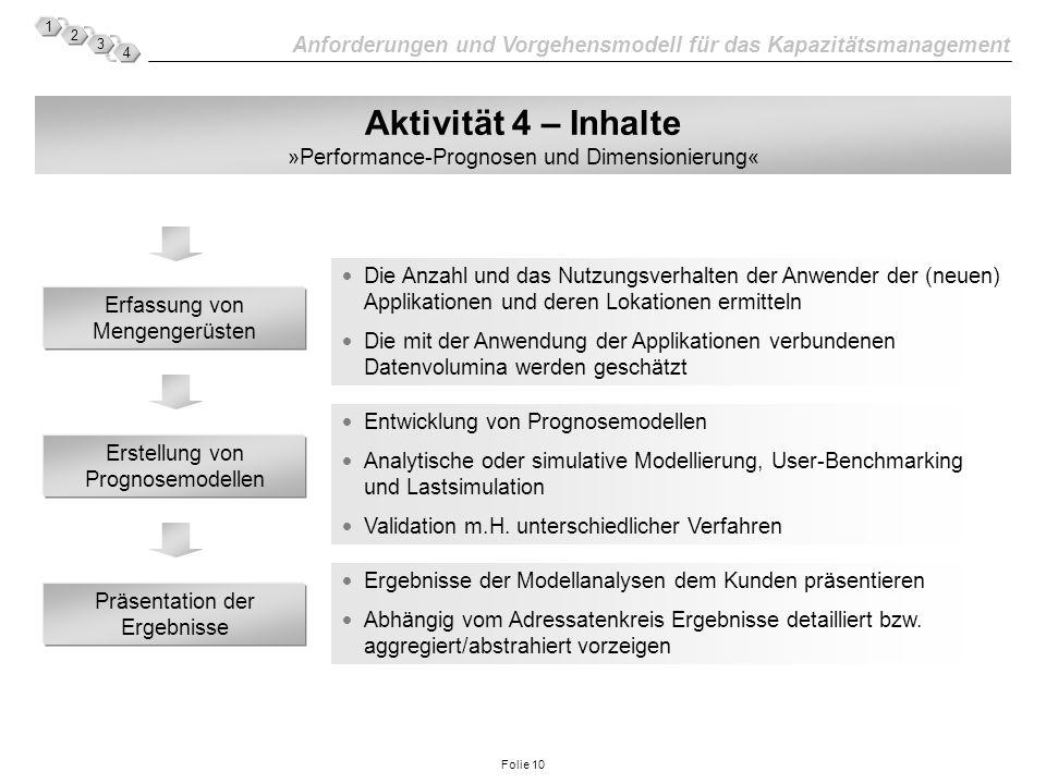 Aktivität 4 – Inhalte »Performance-Prognosen und Dimensionierung«