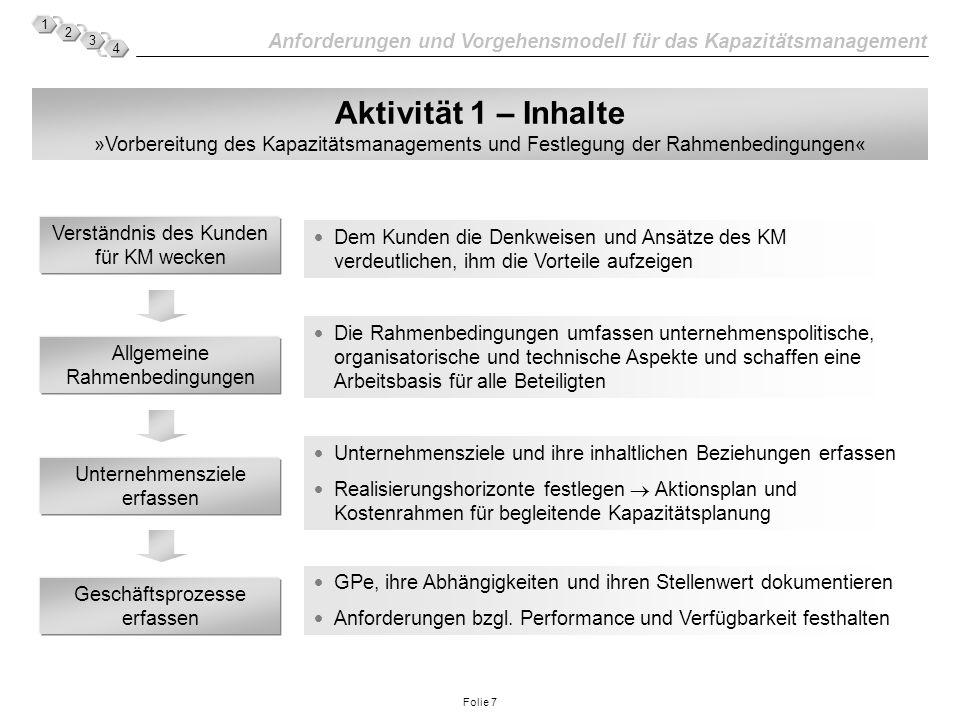 Aktivität 1 – Inhalte »Vorbereitung des Kapazitätsmanagements und Festlegung der Rahmenbedingungen«