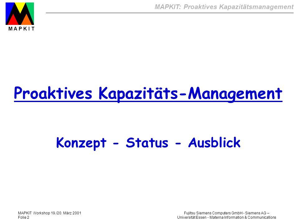 Proaktives Kapazitäts-Management Konzept - Status - Ausblick