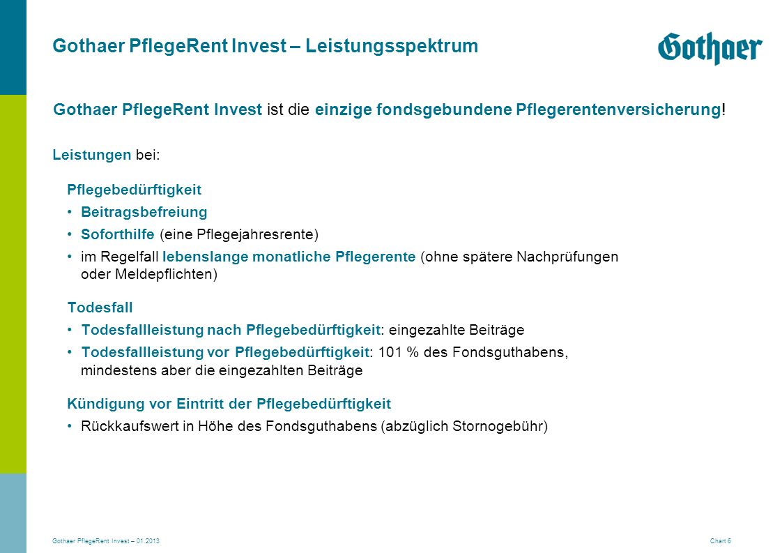 Gothaer PflegeRent Invest – Leistungsspektrum
