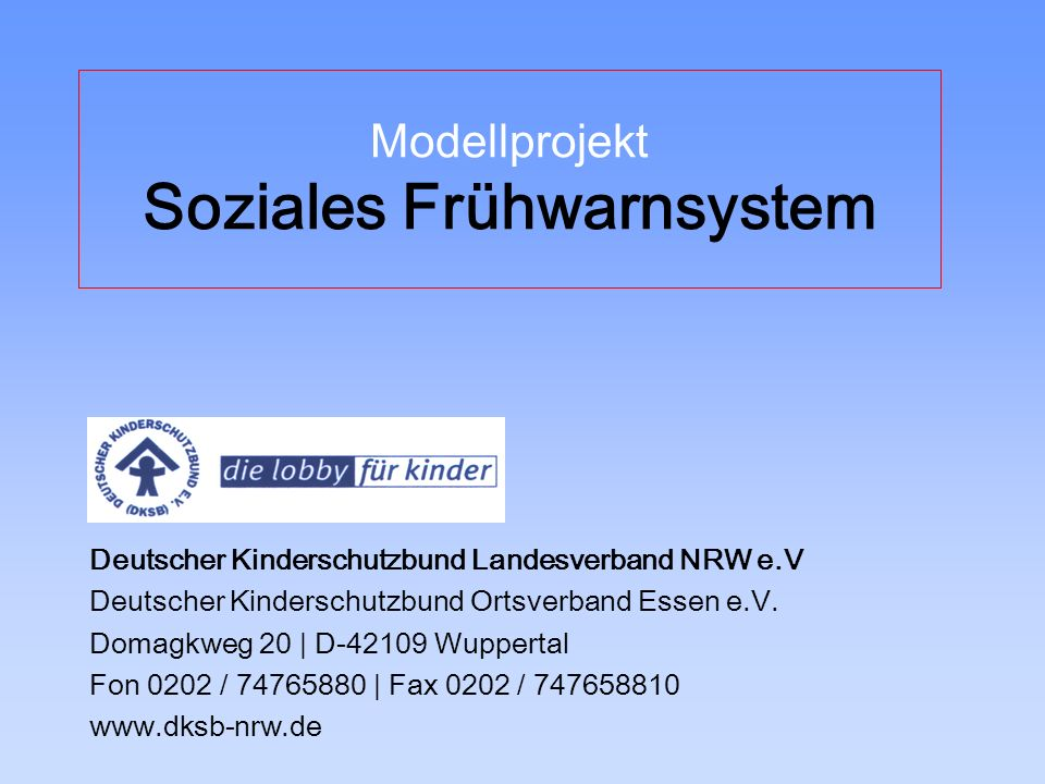 Modellprojekt Soziales Frühwarnsystem