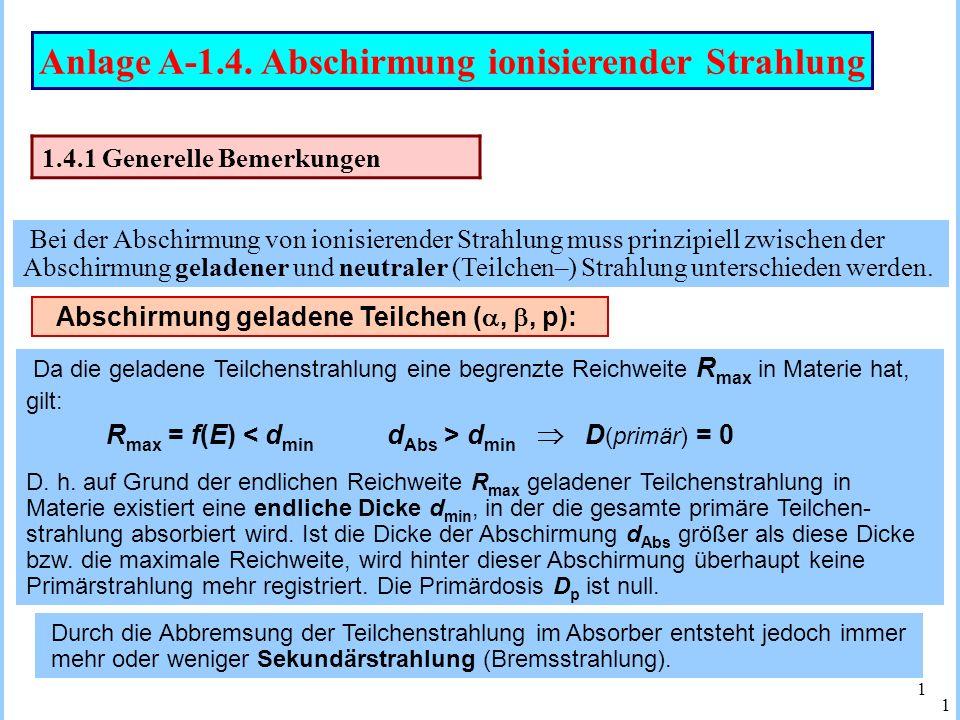 Anlage A-1.4. Abschirmung ionisierender Strahlung