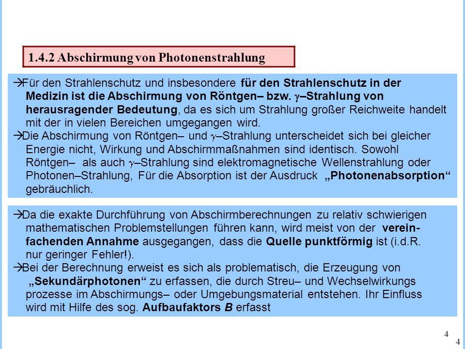 1.4.2 Abschirmung von Photonenstrahlung