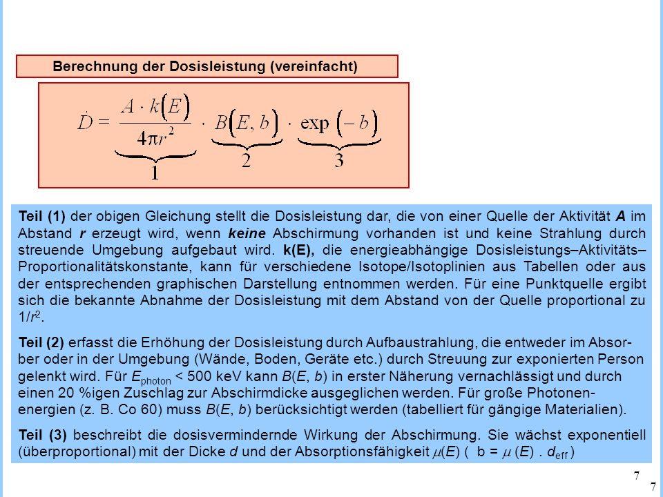 Berechnung der Dosisleistung (vereinfacht)