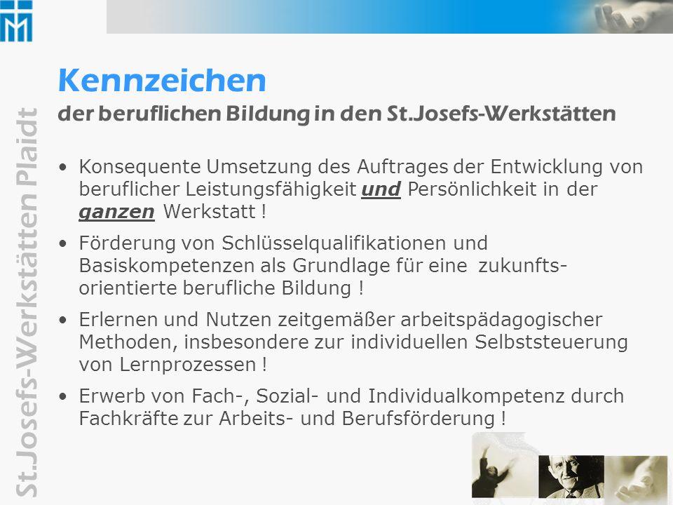 Kennzeichen der beruflichen Bildung in den St.Josefs-Werkstätten