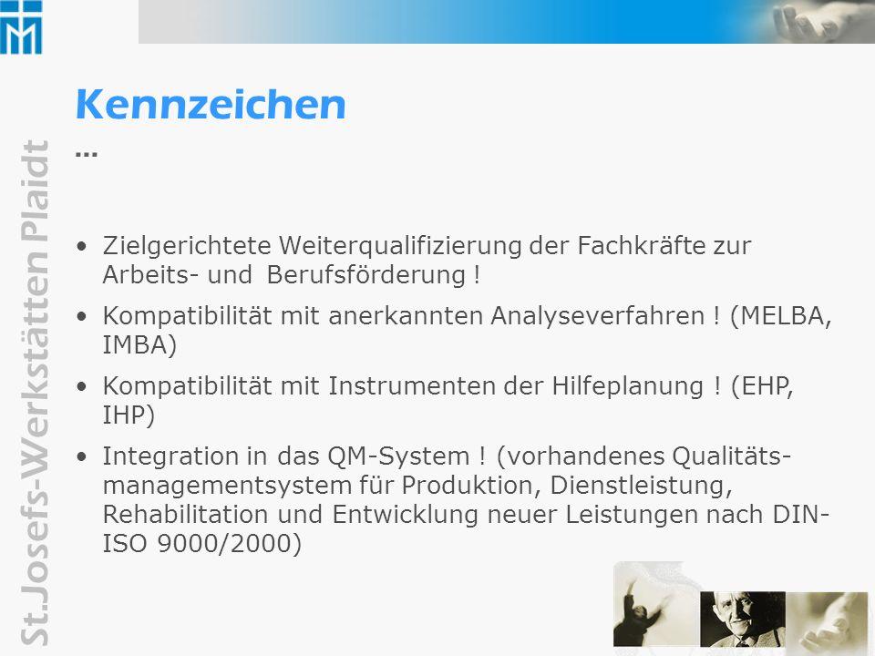 Kennzeichen ...Zielgerichtete Weiterqualifizierung der Fachkräfte zur Arbeits- und Berufsförderung !