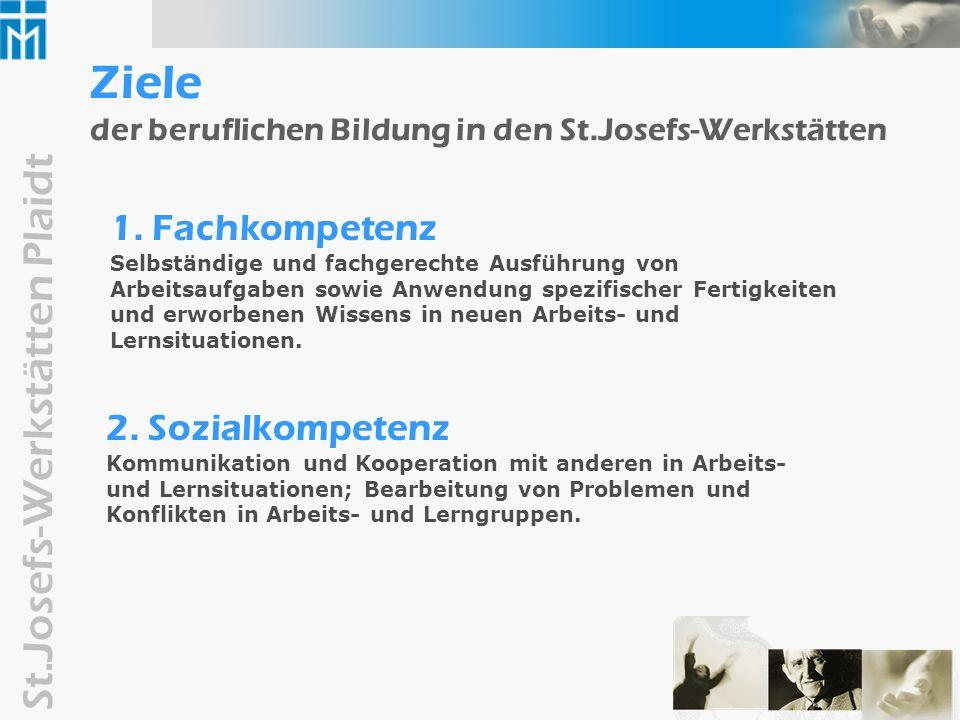 Ziele der beruflichen Bildung in den St.Josefs-Werkstätten
