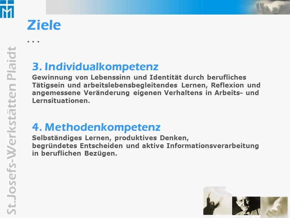 Ziele . . . 3. Individualkompetenz 4. Methodenkompetenz
