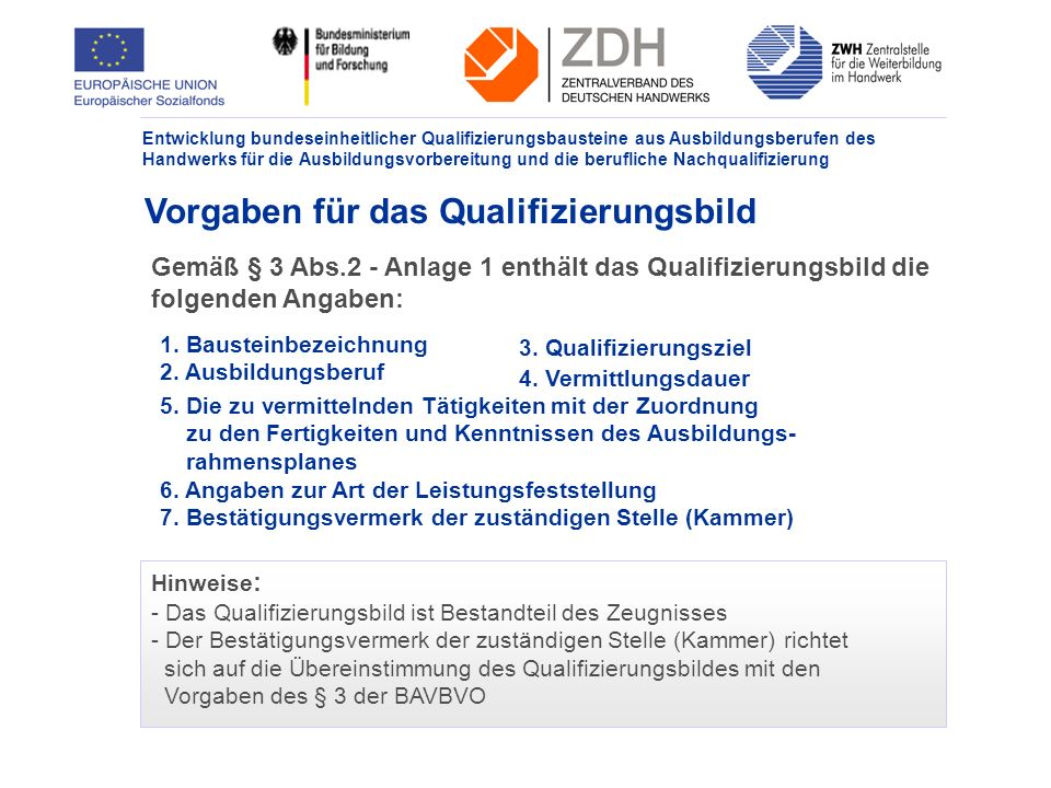 Vorgaben für das Qualifizierungsbild