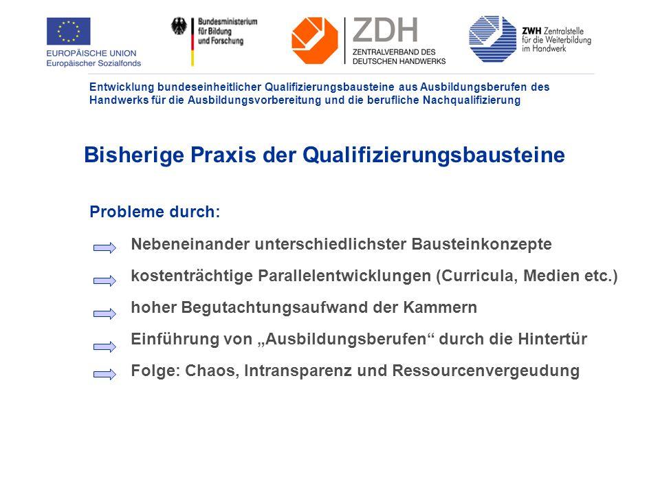 Bisherige Praxis der Qualifizierungsbausteine