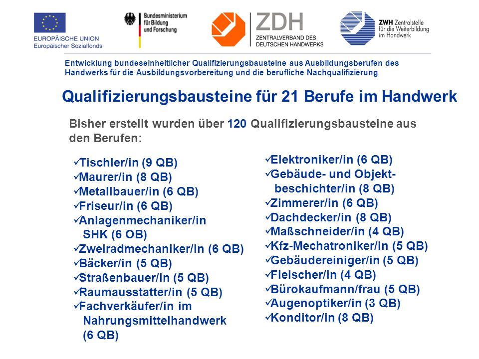 Qualifizierungsbausteine für 21 Berufe im Handwerk