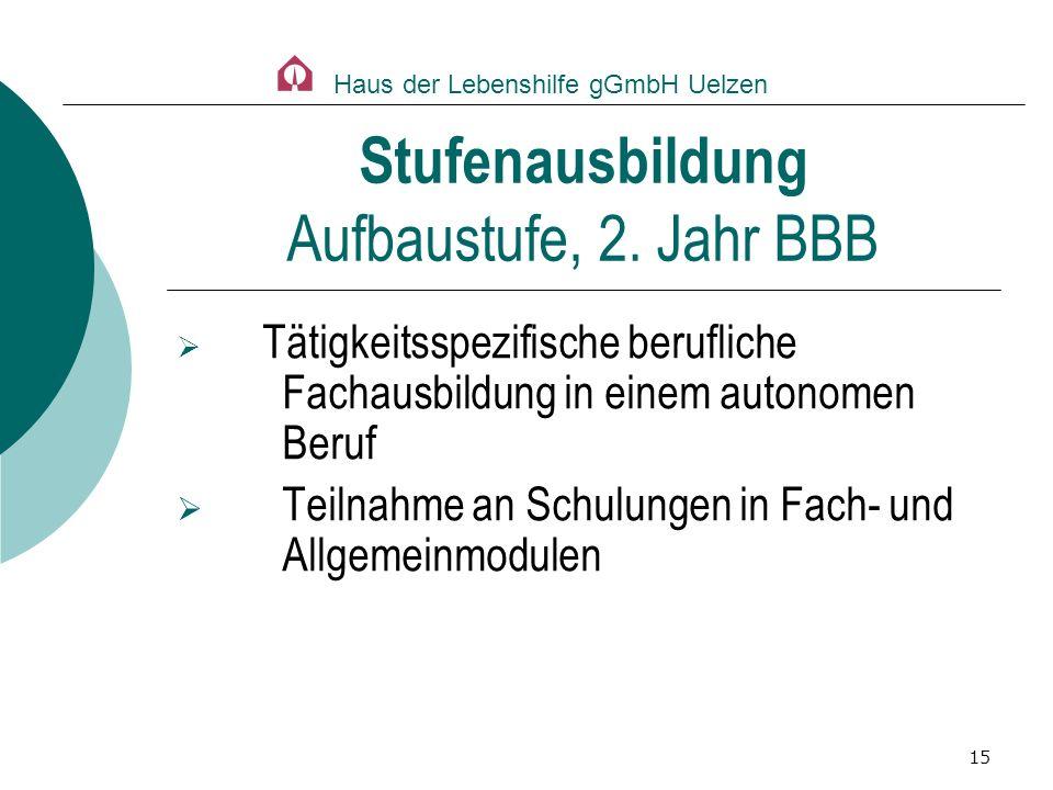 Stufenausbildung Aufbaustufe, 2. Jahr BBB