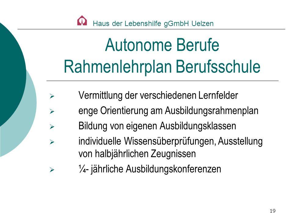 Autonome Berufe Rahmenlehrplan Berufsschule