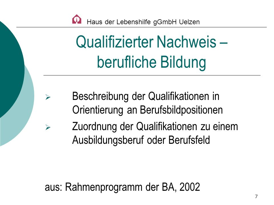 Qualifizierter Nachweis – berufliche Bildung
