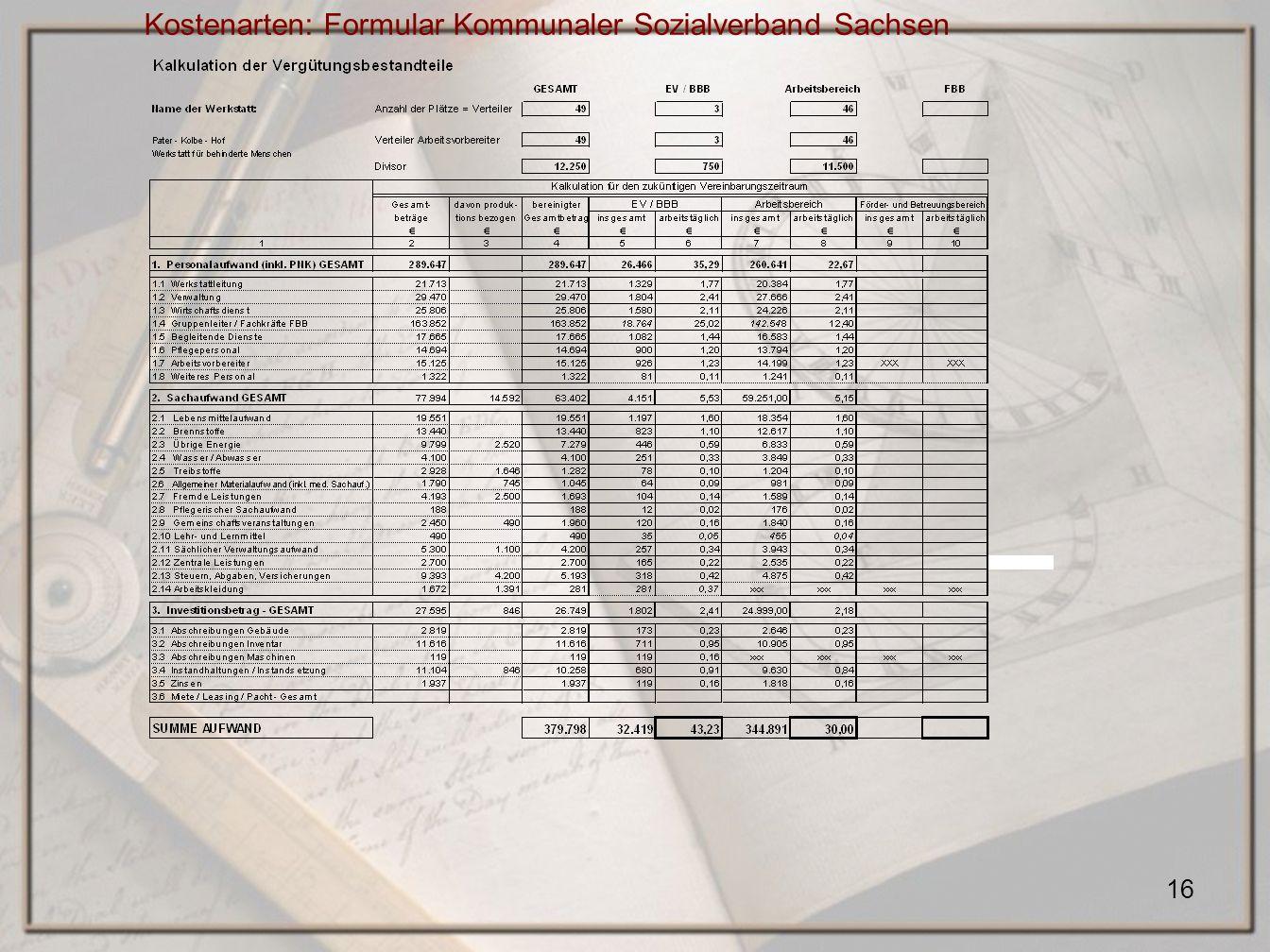 Kostenarten: Formular Kommunaler Sozialverband Sachsen