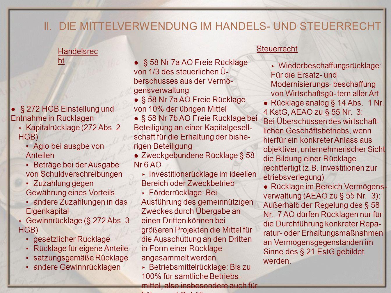 II. DIE MITTELVERWENDUNG IM HANDELS- UND STEUERRECHT