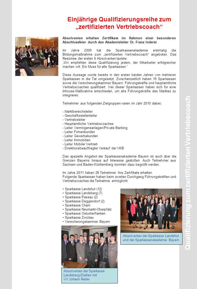 """Einjährige Qualifizierungsreihe zum """"zertifizierten Vertriebscoach"""