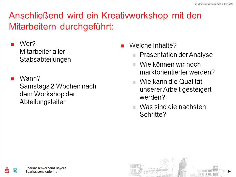 Anschließend wird ein Kreativworkshop mit den Mitarbeitern durchgeführt: