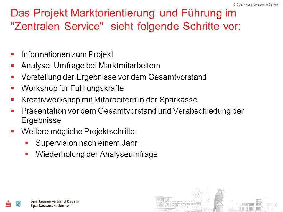 Das Projekt Marktorientierung und Führung im Zentralen Service sieht folgende Schritte vor: