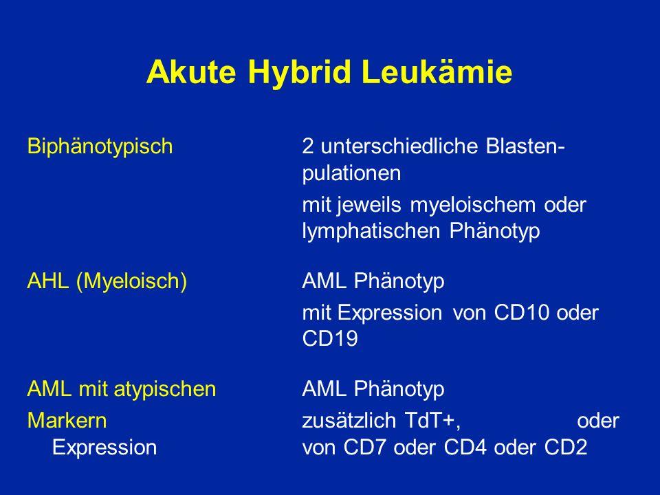 Akute Hybrid Leukämie Biphänotypisch 2 unterschiedliche Blasten- pulationen. mit jeweils myeloischem oder lymphatischen Phänotyp.