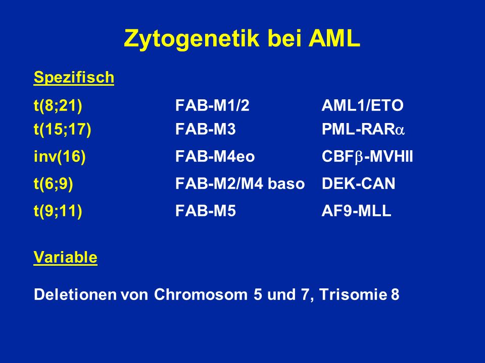 Zytogenetik bei AML Spezifisch t(8;21) FAB-M1/2 AML1/ETO