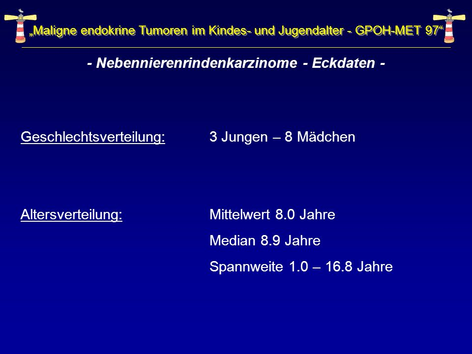 - Nebennierenrindenkarzinome - Eckdaten -