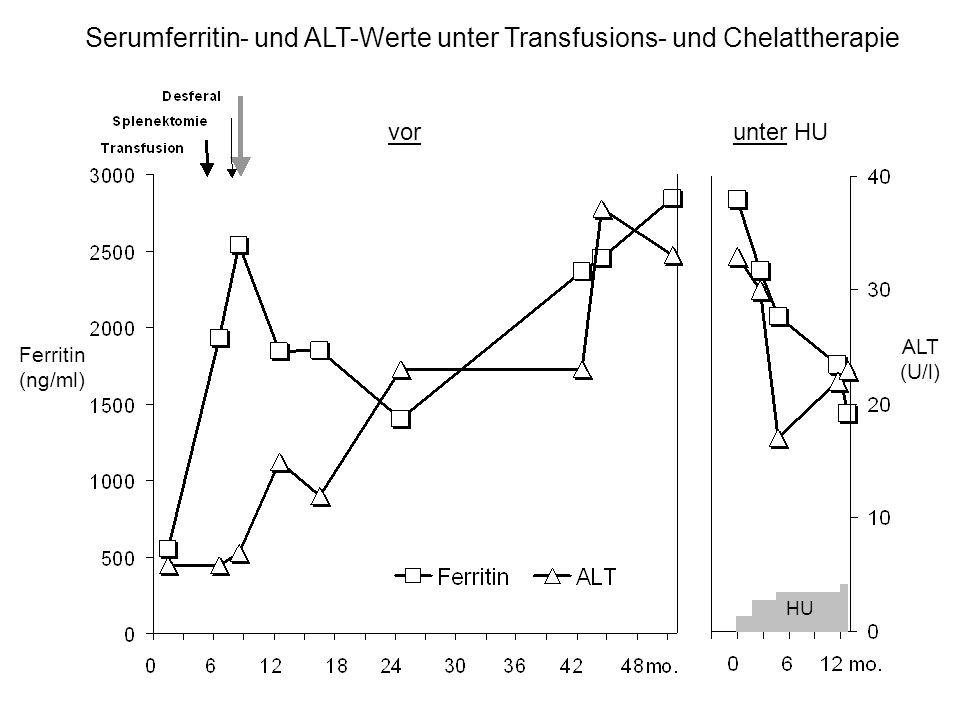 Serumferritin- und ALT-Werte unter Transfusions- und Chelattherapie