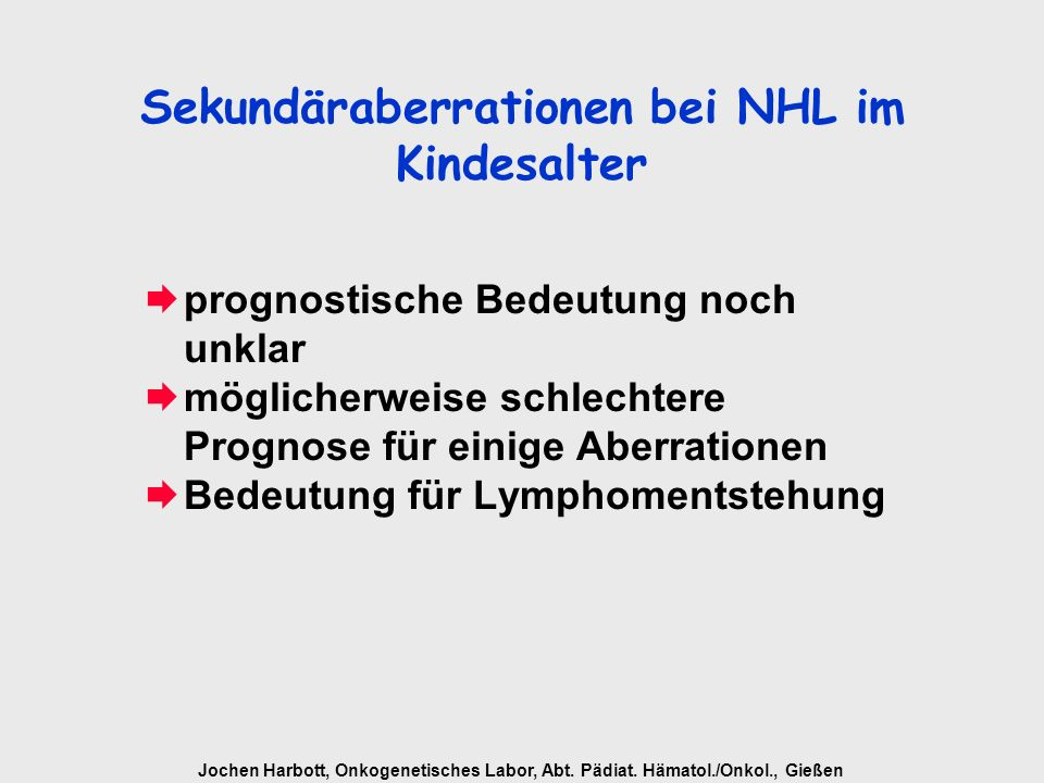 Sekundäraberrationen bei NHL im Kindesalter