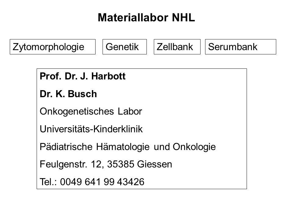 Materiallabor NHL Zytomorphologie Genetik Zellbank Serumbank