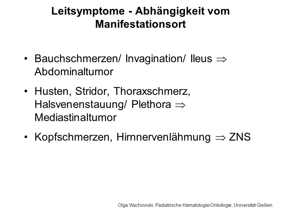 Leitsymptome - Abhängigkeit vom Manifestationsort