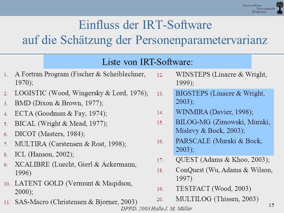 Liste von IRT-Software: