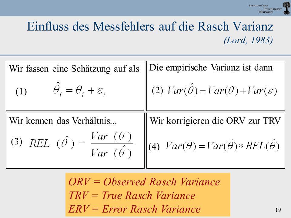 Einfluss des Messfehlers auf die Rasch Varianz (Lord, 1983)