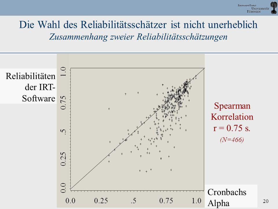 Die Wahl des Reliabilitätsschätzer ist nicht unerheblich Zusammenhang zweier Reliabilitätsschätzungen