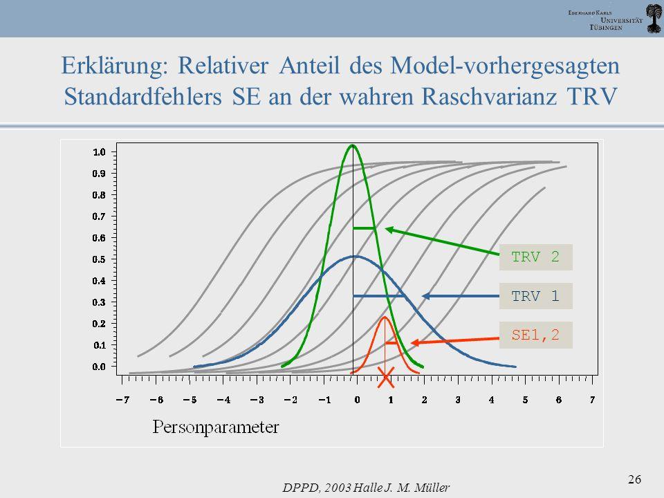 Erklärung: Relativer Anteil des Model-vorhergesagten Standardfehlers SE an der wahren Raschvarianz TRV