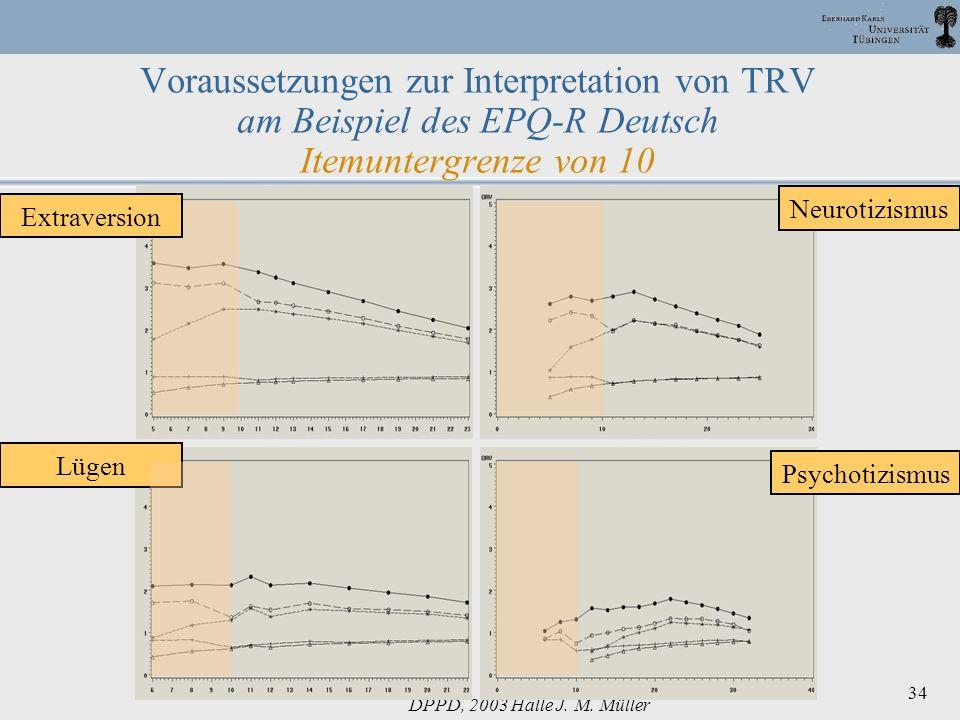 Voraussetzungen zur Interpretation von TRV am Beispiel des EPQ-R Deutsch Itemuntergrenze von 10
