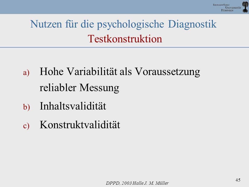 Nutzen für die psychologische Diagnostik Testkonstruktion