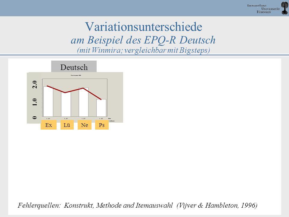 Variationsunterschiede am Beispiel des EPQ-R Deutsch (mit Winmira; vergleichbar mit Bigsteps)
