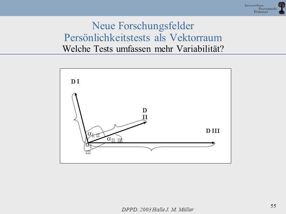 Neue Forschungsfelder Persönlichkeitstests als Vektorraum Welche Tests umfassen mehr Variabilität