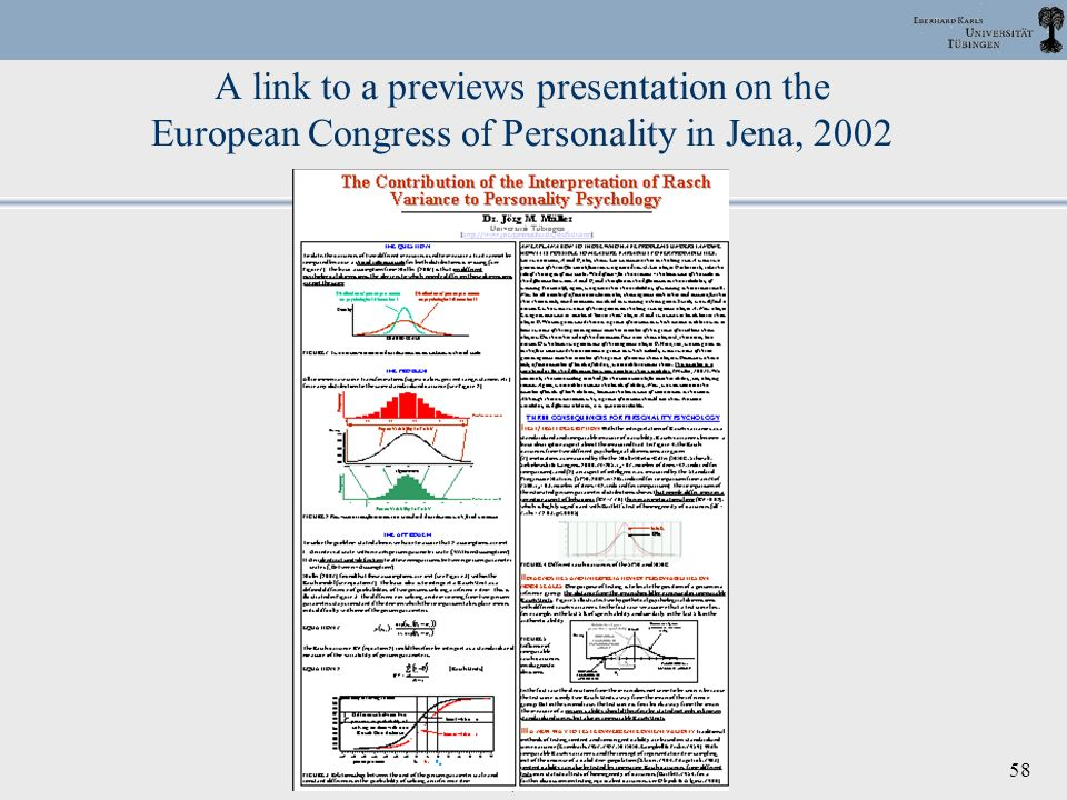 A link to a previews presentation on the European Congress of Personality in Jena, 2002